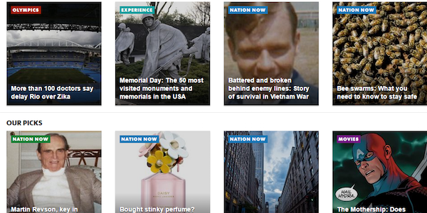 USAToday.com - Colour Coded Categories