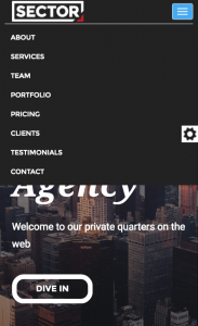 Sector One Page Website Theme - Menu in Mobile View