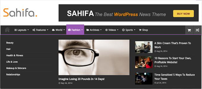 Sahifa WordPress Magazine Style Theme - Fashion Page
