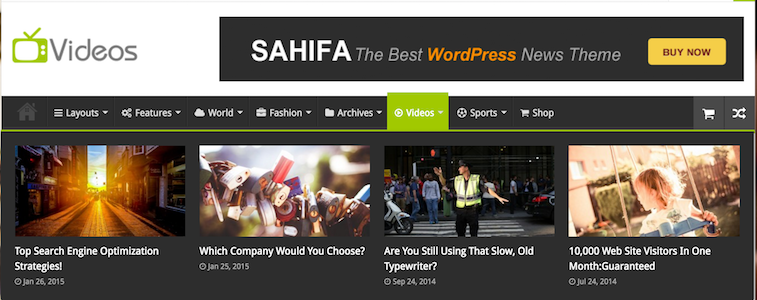 Sahifa WordPress Magazine Style Theme - Videos Page