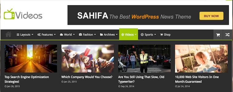 Sahifa WordPress Magazine Style Theme - Videos Page