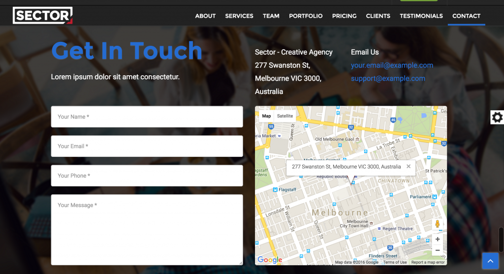 Sector Theme: One Page Website - Contact Section