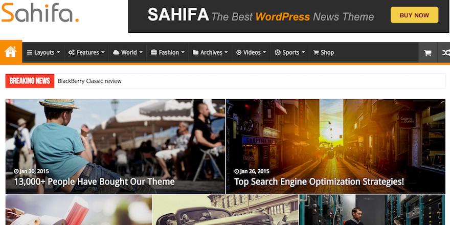 Sahifa WordPress Magazine Style Theme