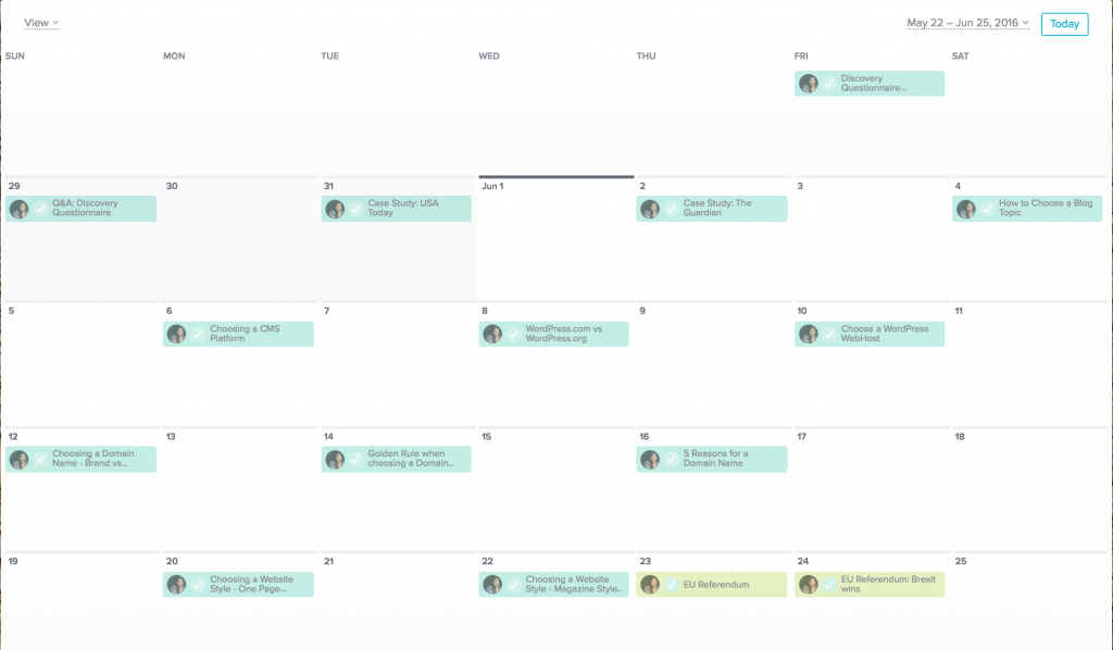 Snapshot of my Asana June Calendar