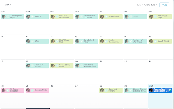 July Overview in Asana