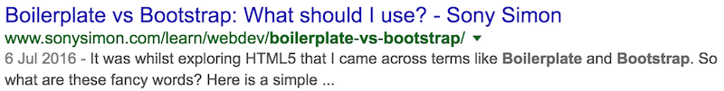 BootstrapVsBoilerplate - Google Search Result
