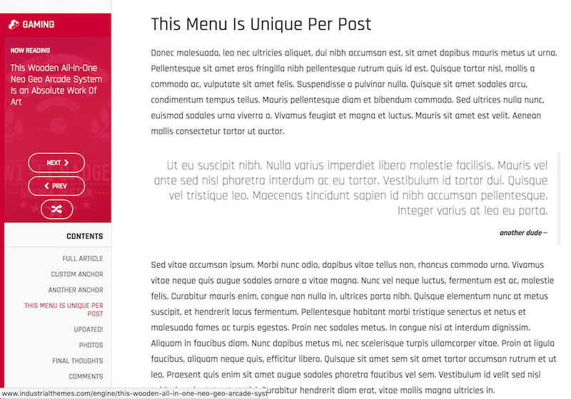 Engine WordPress Theme - Content Menu