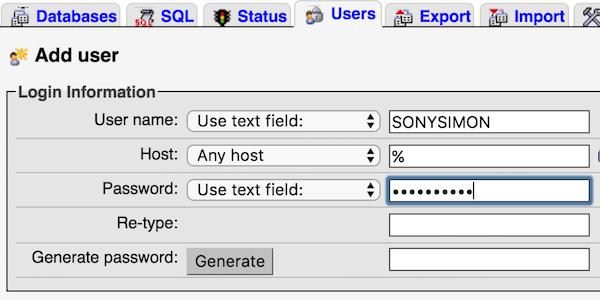 MySQL - AddUser