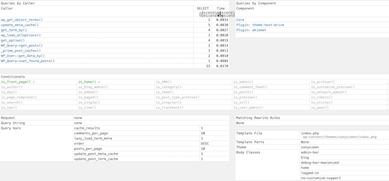 Query Monitor Detailed Info