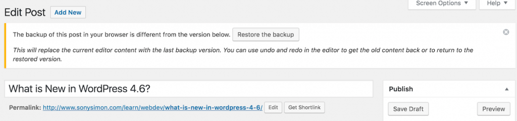 WordPress 4.6 - Content Recovery