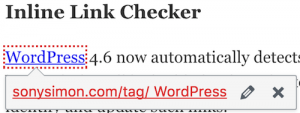 WordPress 4.6 - Inline Link Checker