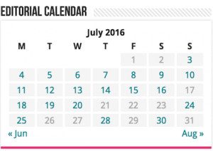 WordPress Editorial Calendar Widget