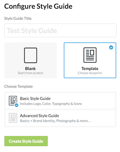 Choose Template in Frontify Style Guide