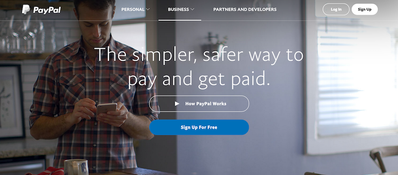 Example of Hero Header - Paypal
